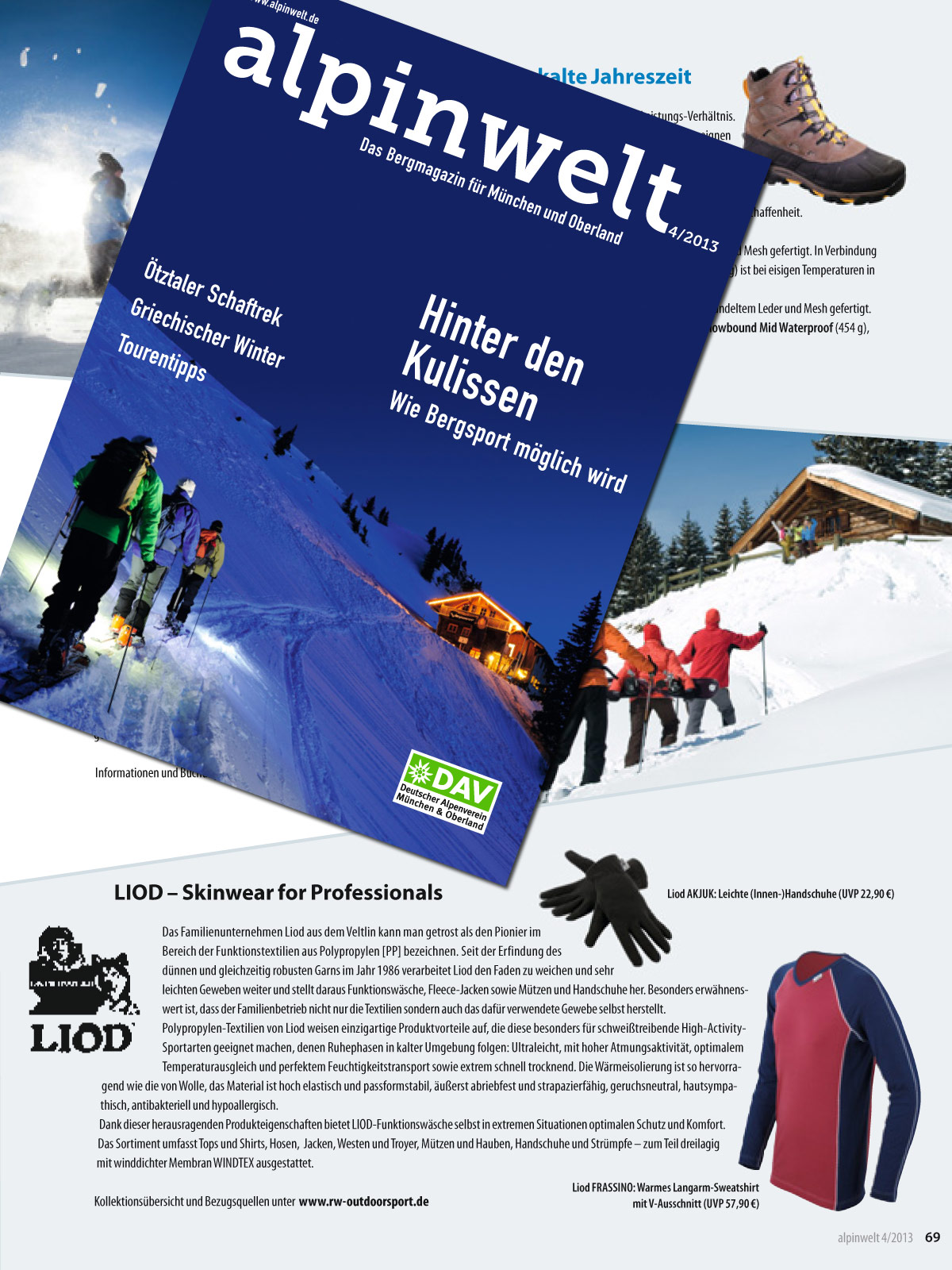 Das LIOD Markenprofil in der ALPINWELT 4/2013